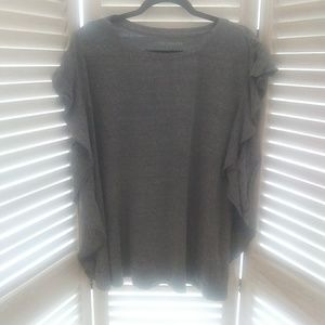 Lane Bryant Heather gray ruffle T-shirt top 22 24